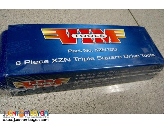 VIM XZN100 8-piece Triple Square Bit 3/8-inch Drive Set