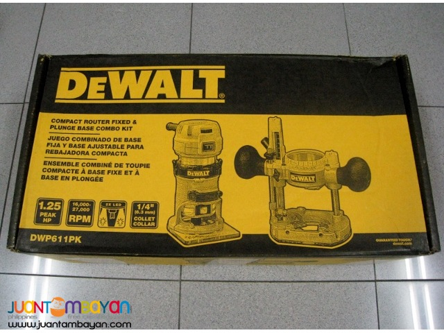 Dewalt DWP611PK 1.25 HP Variable Speed Compact Router Combo Kit - 110V