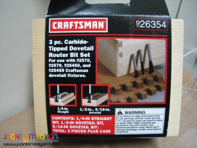 Craftsman 3-piece Carbide Tipped Dovetail Router Bit Set