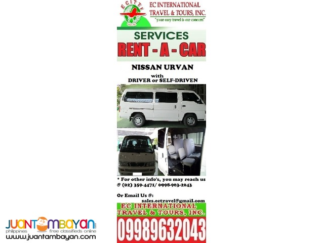 Nissan Urvan for HIRE