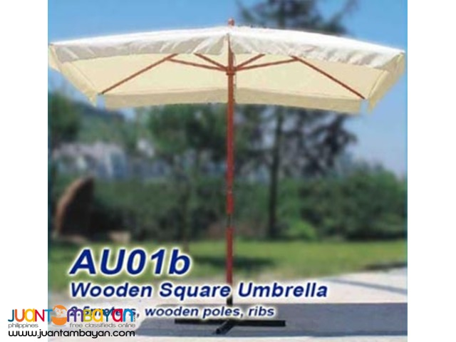 AU01 Wooden Umbrellas Fiber Siena Garden Beach Restaurants Pool Patio