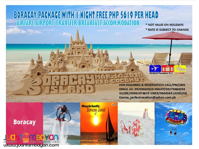 Boracay PACKAGE with 1 NIGHT FREE php 5619