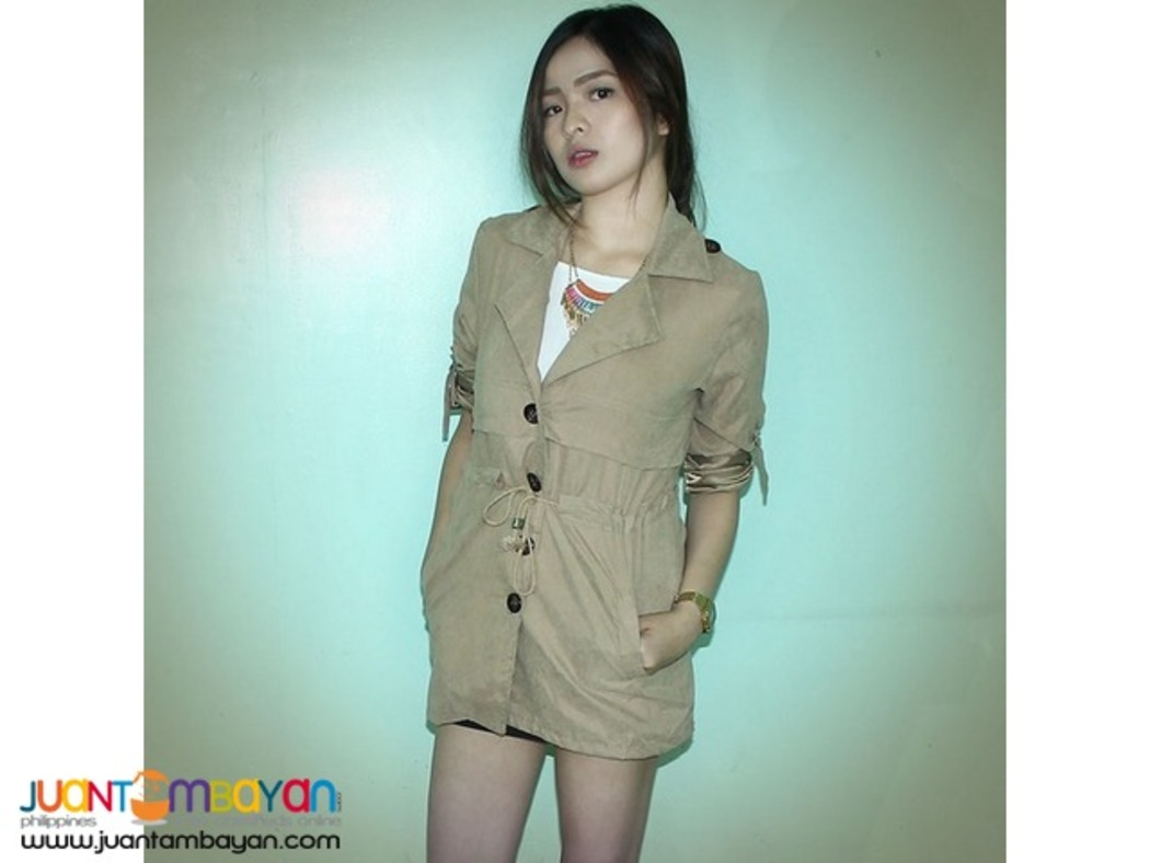 Roll-Up Sleeves Cotton-Linen Blend Trench Dress Coat