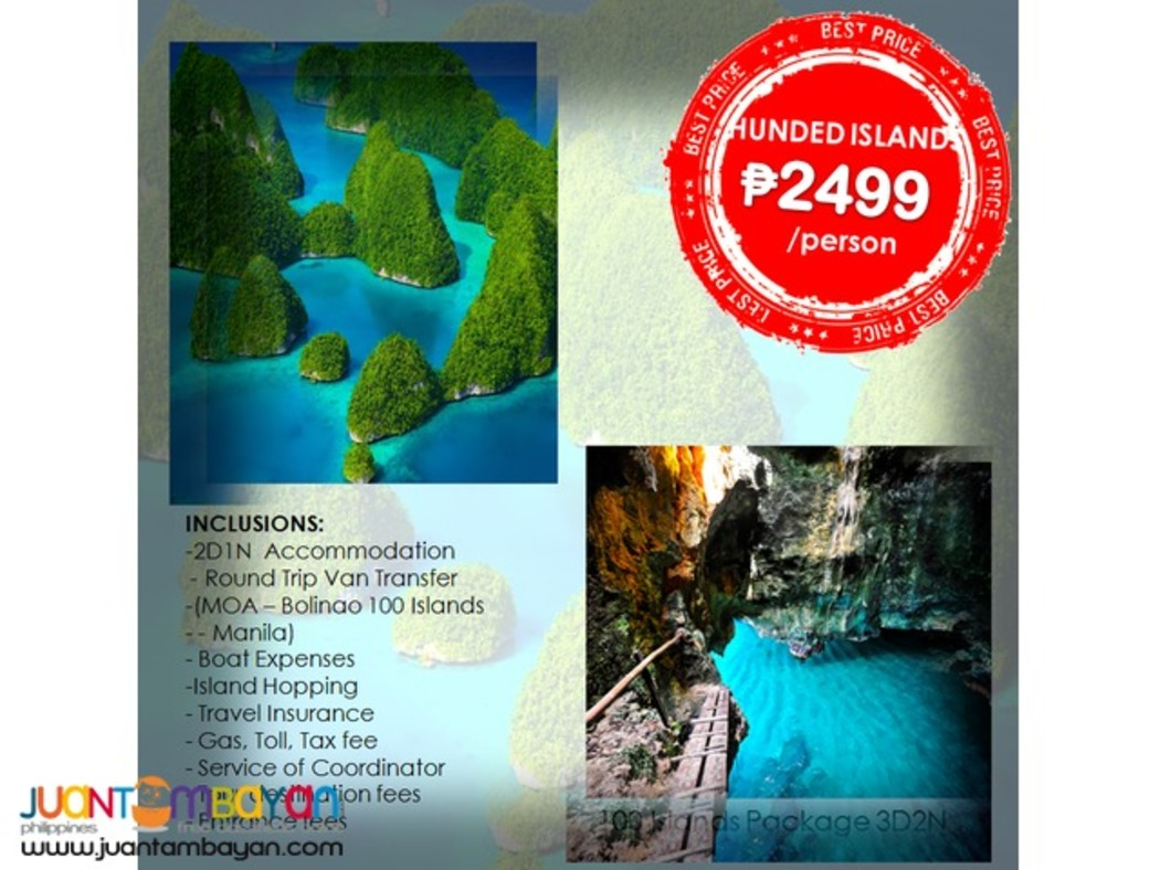 Affordable BOLINAO & HUNDRED ISLANDS 2D1N