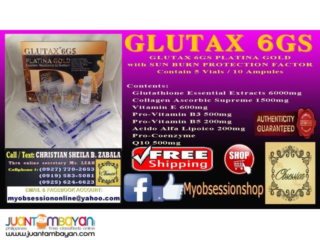 GLUTAX 6GS PLATINA GOLD with SUN BURN PROTECTION FACTOR