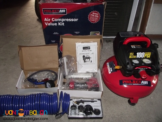 Compresor 180psi 220v kit set air brush,nailgun, air gage  brandnew
