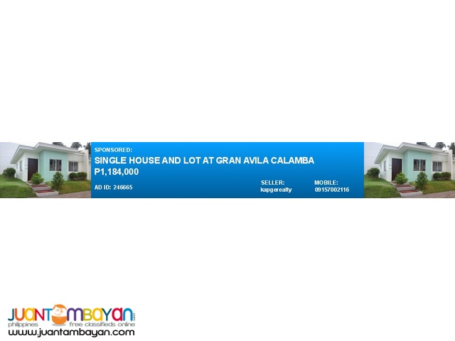 Single House and Lot at Gran Avila Calamba