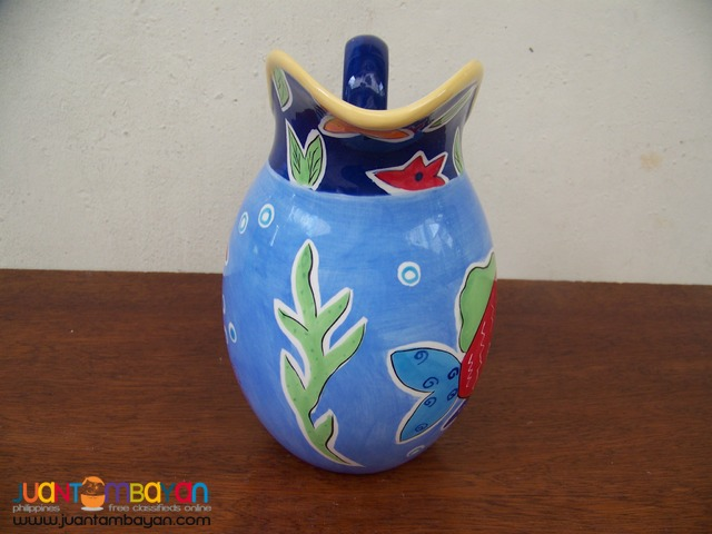 P1023 Hand Painted Pitcher Vase, from USA.