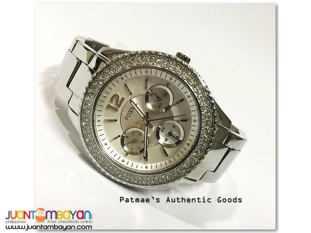 Fossil Stella Glitz Silver Tone Multifunction Watch ES3588
