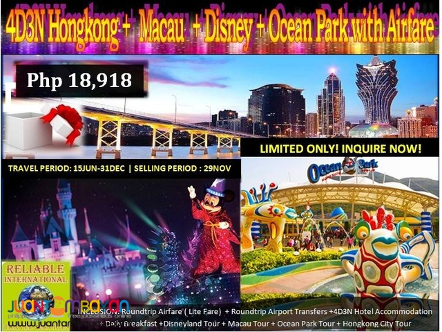 4D3N Hongkong + Macau + Disneyland + Ocean Park Tour & Airfare