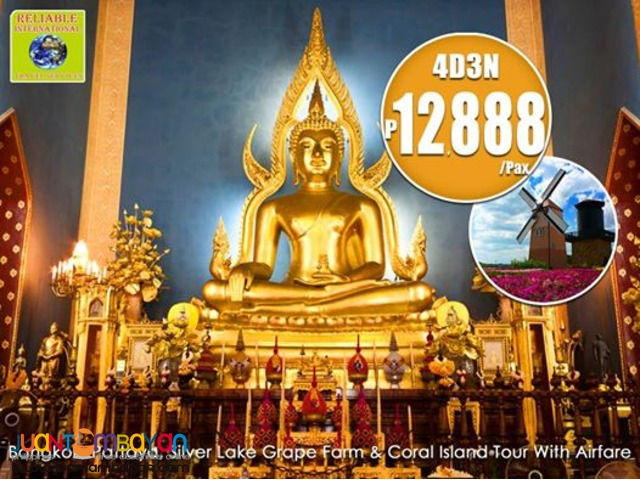 4D3N BANGKOK WITH OVERNIGHT PATTAYA + CORAL ISLAND TOUR & AIRFARE