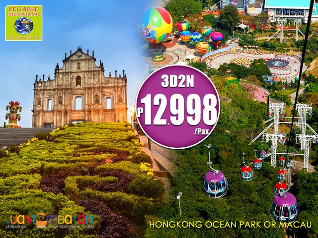 3D2N HONGKONG WITH OCEAN PARK TOUR OR MACAU TOUR WITH AIRFARE