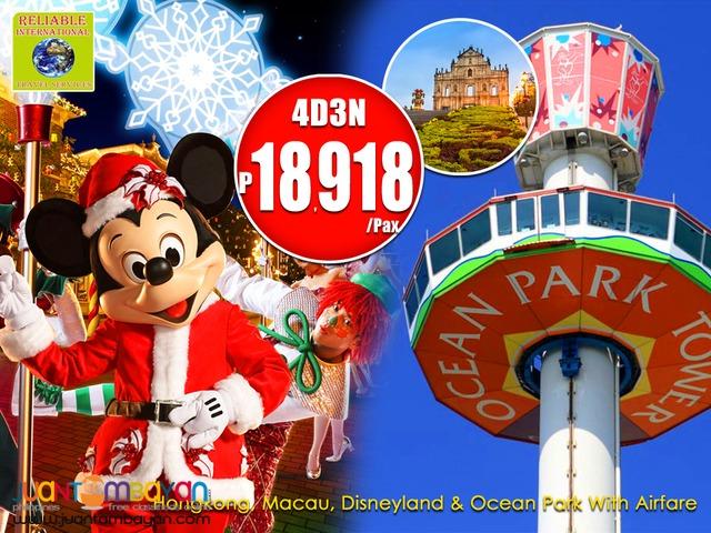4d3n Hongkong with Macau, Disneyland & Ocean Park Tour + Airfare