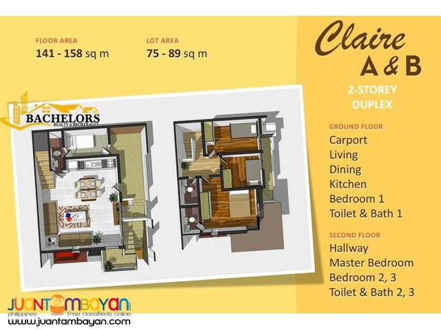 88 Hillside Residences 4 bedrooms duplex house and lot Claire Model