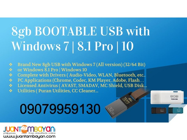 Brand new 8GB Bootable USB with Windows 7 / Win 8.1 / Win 10