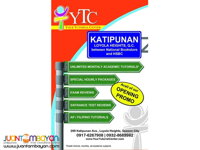 Unlimited Monthly Academic Tutorial in Katipunan