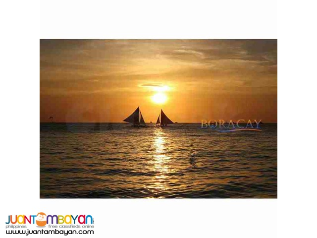 Boracay package, with its ocean full of romantic paraws during sunset
