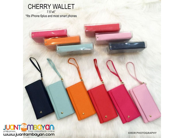 Hot Pink Cute and Classy Cherry Long Smart Wallets