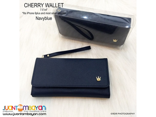 Navy Blue Cute and Classy Cherry Long Smart Wallets