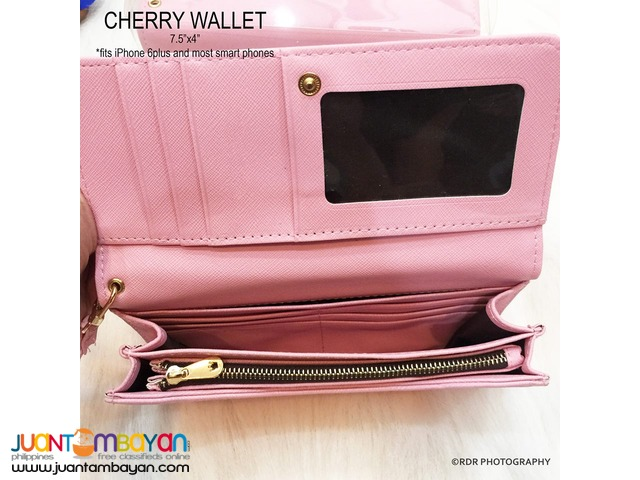 Orange Cute and Classy Cherry Long Smart Wallets