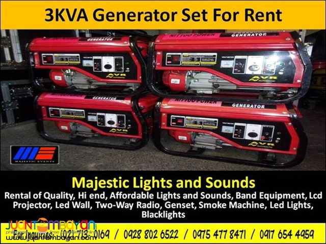 Generator Set (3KVA) For Rent