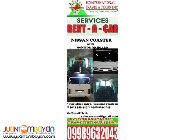 Nissan Coaster for rent in any point of Luzon
