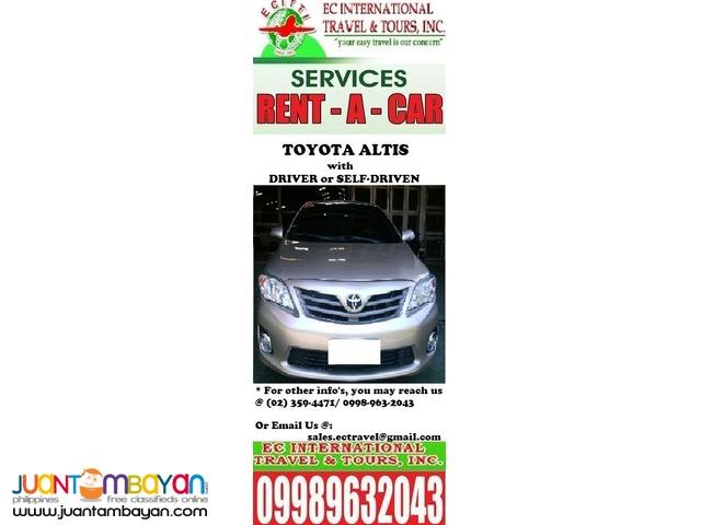 Cars for Rent in an affordable rates with driver or self driven