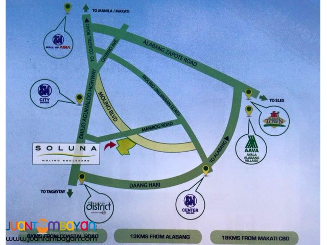 House and Lot in Bacoor Soluna Subdivision in Molino Blvd near Manila