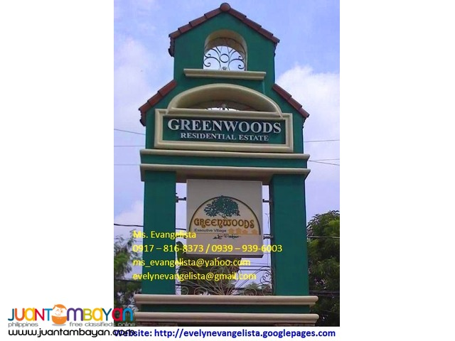 Greenwoods Phase 6 Sec.9 Sandoval Ave. Pasig City @ P 9,800/sqm.