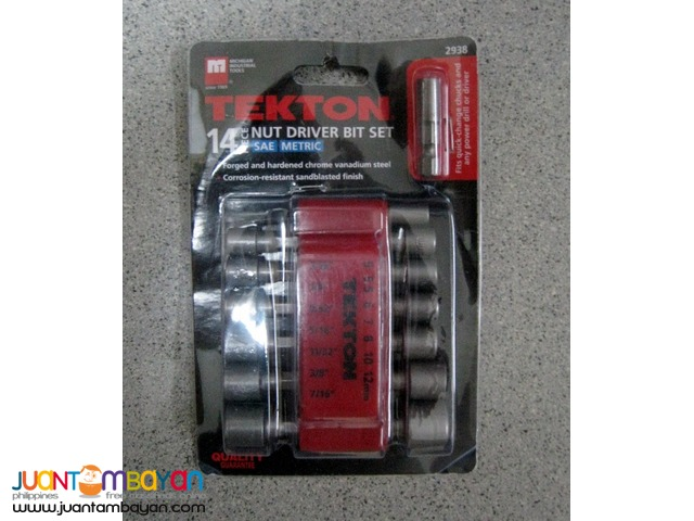 Tekton 2938 14-pc Quick-Change Power Nut Driver Bit Set with Detents