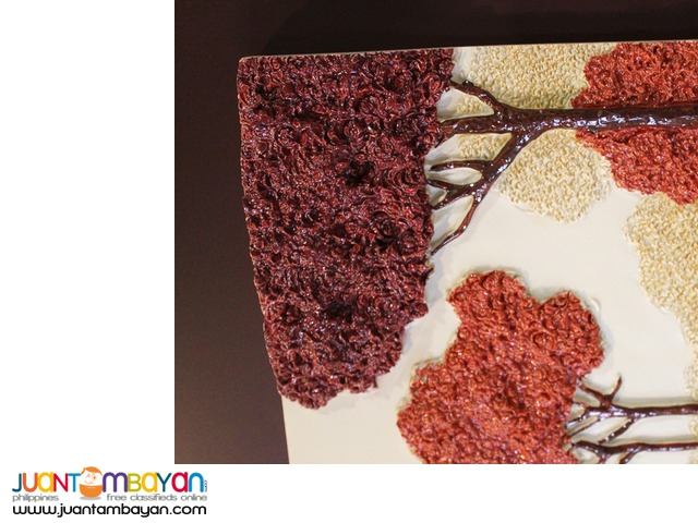 Wall Decor 3D embossed Art Frame Red Autumn