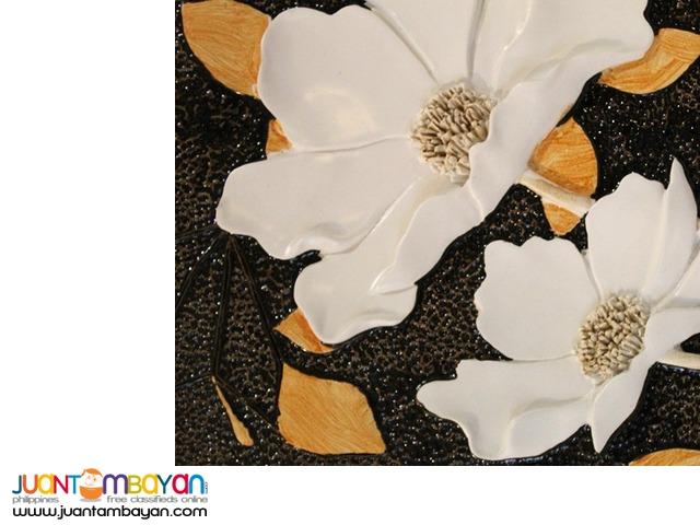 Wall Decor 3D art frame golden white flower