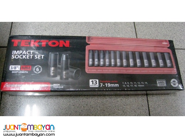 Tekton 47925 13-piece 3/8-inch Drive Deep Impact Socket Set, 7-19mm