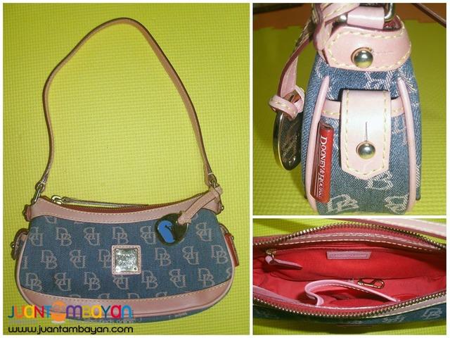 Dooney & Bourke Mini Top Zip Pink And Blue Baguette Mini Bag