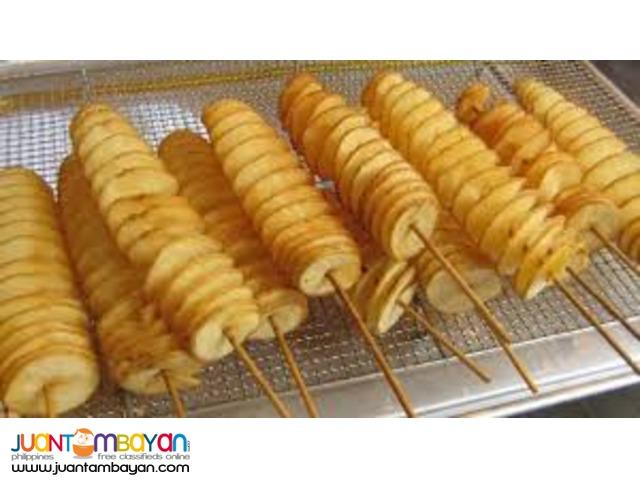 french fries, lugaw, kwek kwek, hamburger, sisig, isaw, siomai