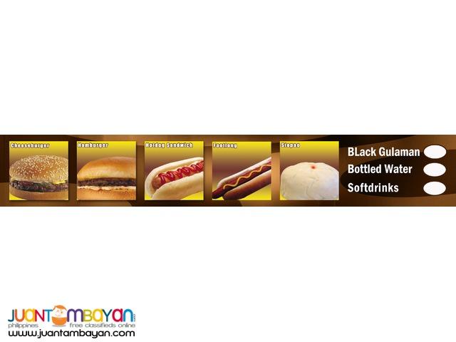 hamburger, kwek kwek, buko shake, french fries, lugaw