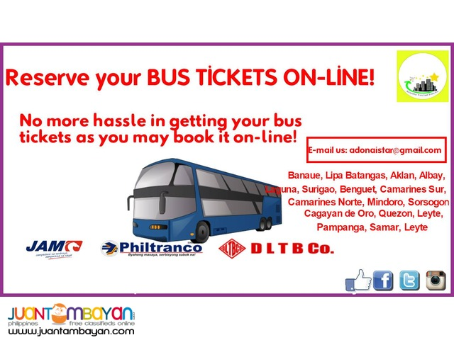 RESERVE YOUR BUS TICKETS ONLINE