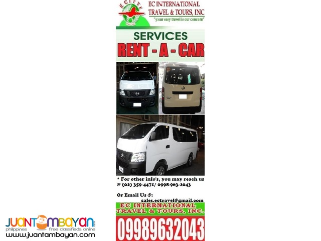 Brand New Nissan Urvan for RENT