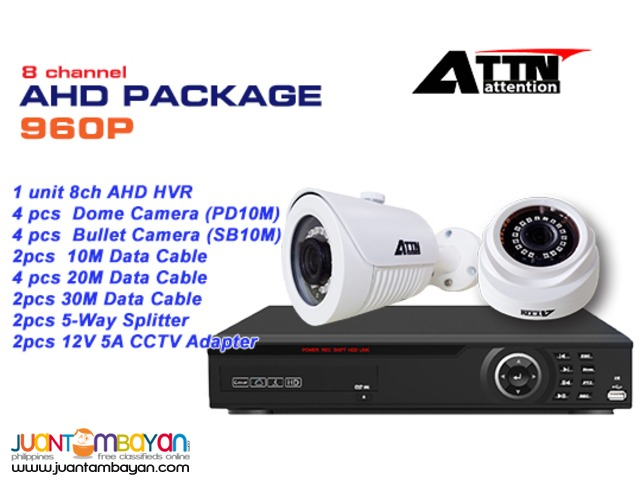 CCTV 8channel AHD Package 1.0MegaPixel