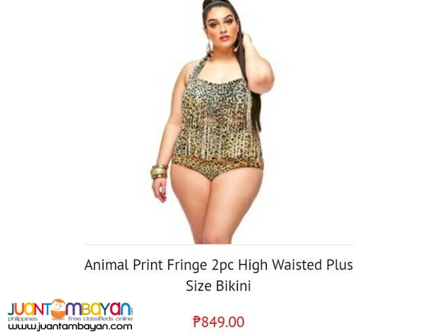 Animal Print Fringe 2pc High waisted plus size bikini
