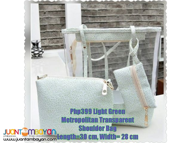 Light Green Metropolitan Transparent Shoulder Bag