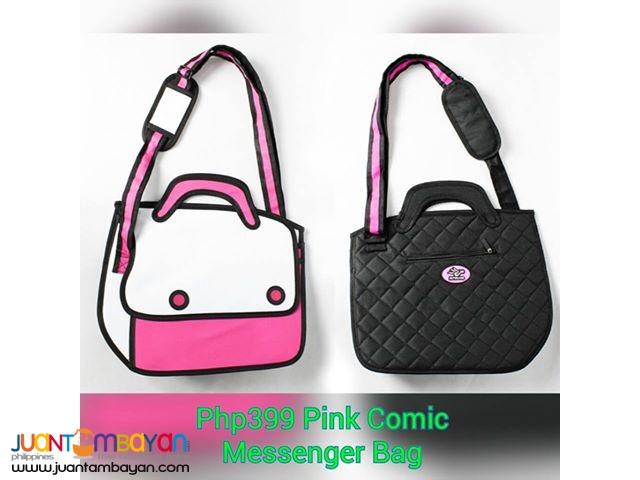 Pink Comic Messenger Bag