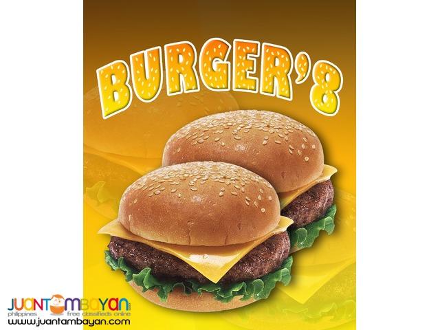 burger, tapsilogan, pares, lugaw, kwek kwek, buko juice