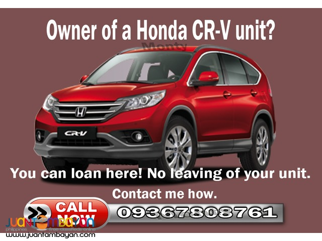 Car lending pawn loan OR CR only for 2000-2015 Honda or any units