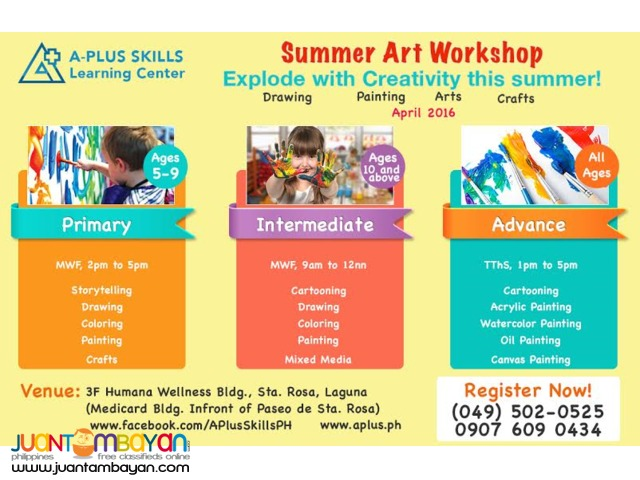 LIMITED SLOTS only .free materials 2016 SUMMER ART WORKSHOP