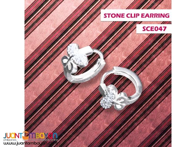 JJ Silver Jewelry Stone Clip Earring