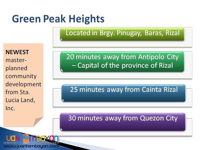 Affordable Lots at GREEN PEAK HEIGHTS Baras Rizal
