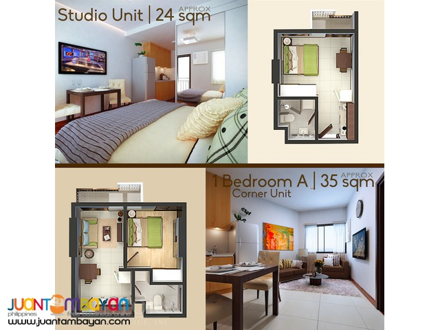 Condo Studio type for as low as P10,043k mo equity