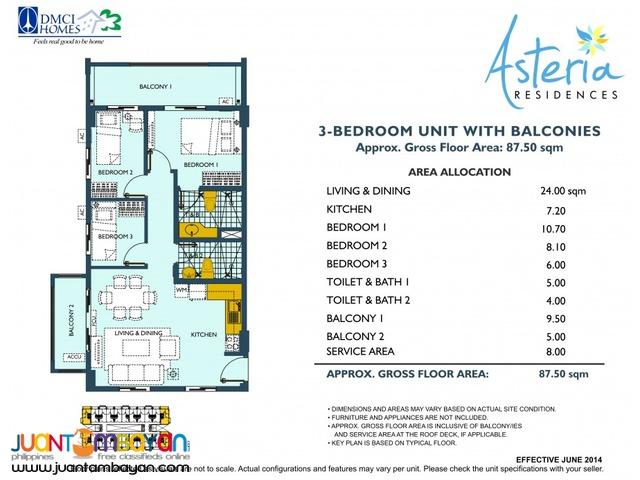 2 & 3 BR Sucat Paranaque Condo Asteria Residence