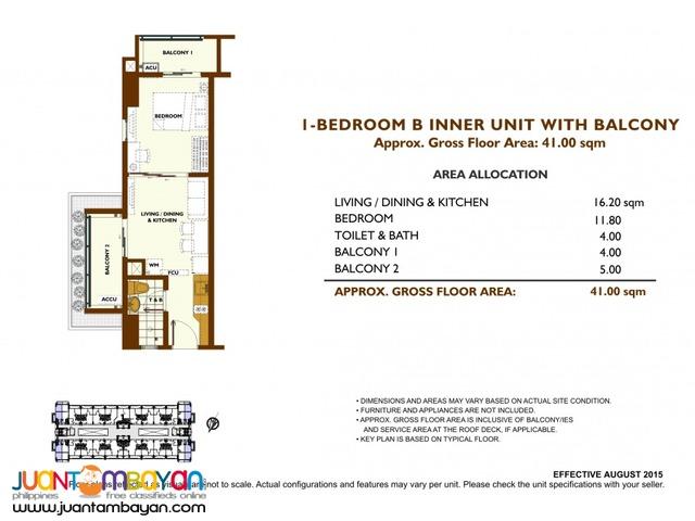 1, 2 & 3 BR Villamor Pasay NAIA SLEX Condo - Fairway Terraces